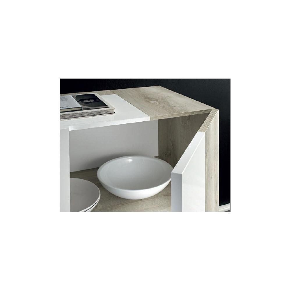 bahut laqu blanc haut parme open. Black Bedroom Furniture Sets. Home Design Ideas