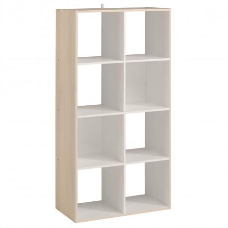 Cubes d'aménagement et décoration 6 cases Acacia et blanc