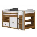 Ensemble lit et meubles étagères 90x190/200 Pin massif Miel Antique et Blanc