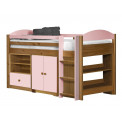 Ensemble lit et meubles étagères 90x190/200 Pin massif Miel Antique et Rose