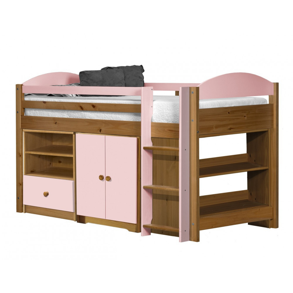 ensemble lit et meubles 90x190 90x200 pin massif miel antique et rose. Black Bedroom Furniture Sets. Home Design Ideas