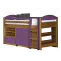 Ensemble lit et meubles étagères 90x190/200 Pin massif Miel Antique et Lilas