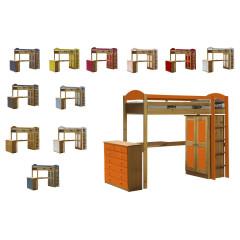 Lit mezzanine meublé  Pin massif Miel antique +11 coloris