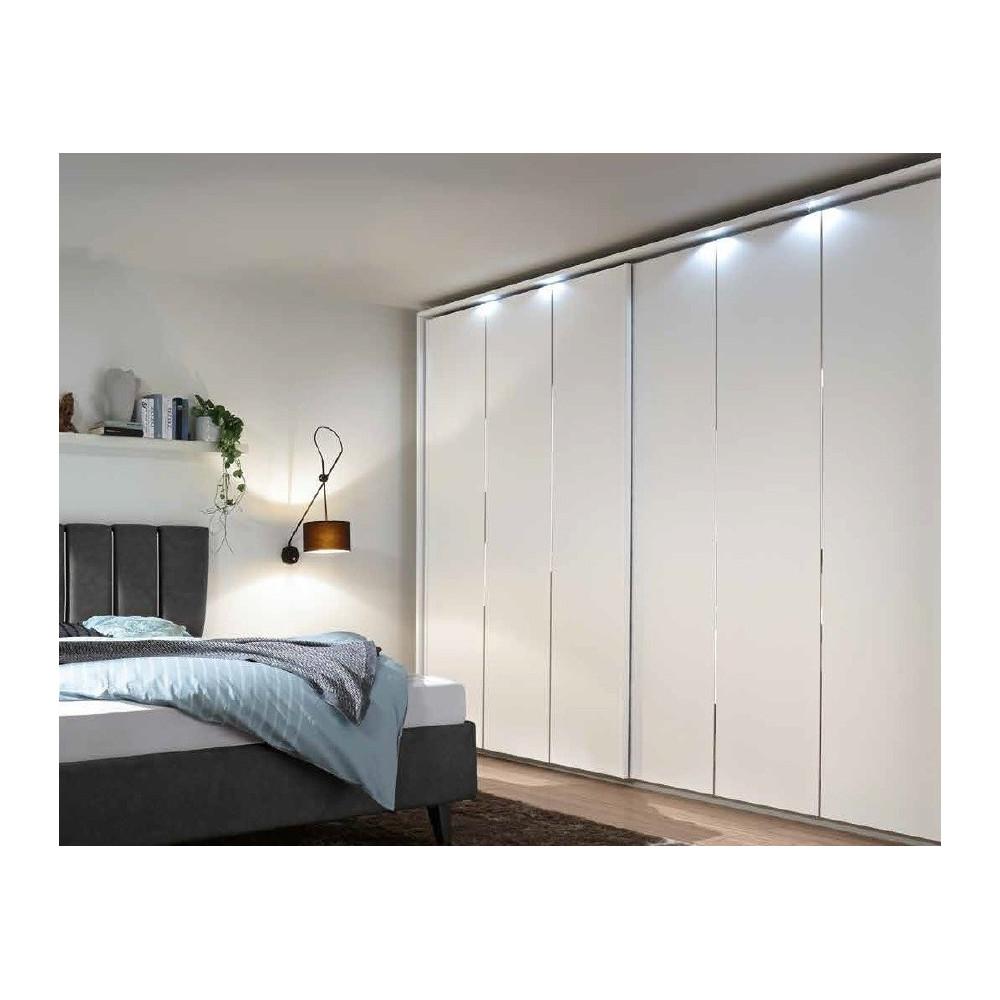 armoire contemporaine coulissante blanc mat xar 220cm. Black Bedroom Furniture Sets. Home Design Ideas