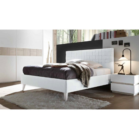 LIT DESIGN 160 ou 180 cm blanc tressé option coffre