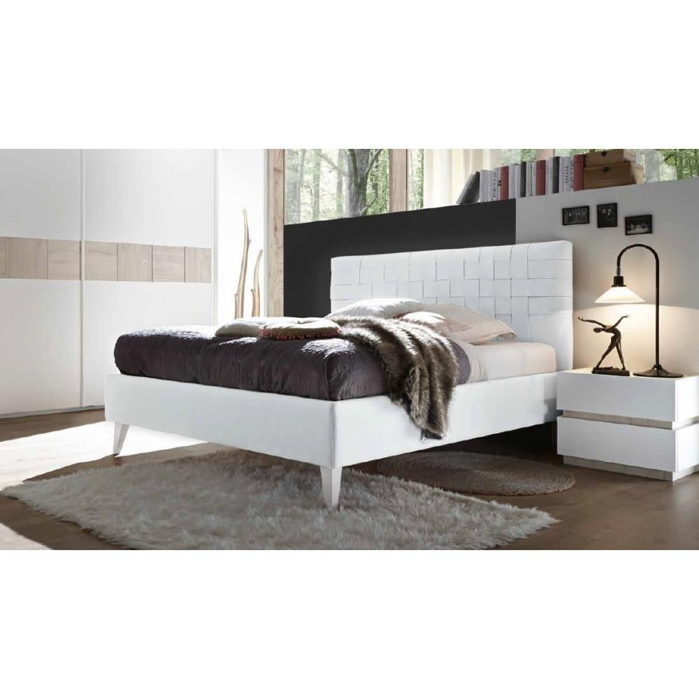 lit moderne pu tress blanc 160 et 180 x 200 prix exceptionnel. Black Bedroom Furniture Sets. Home Design Ideas