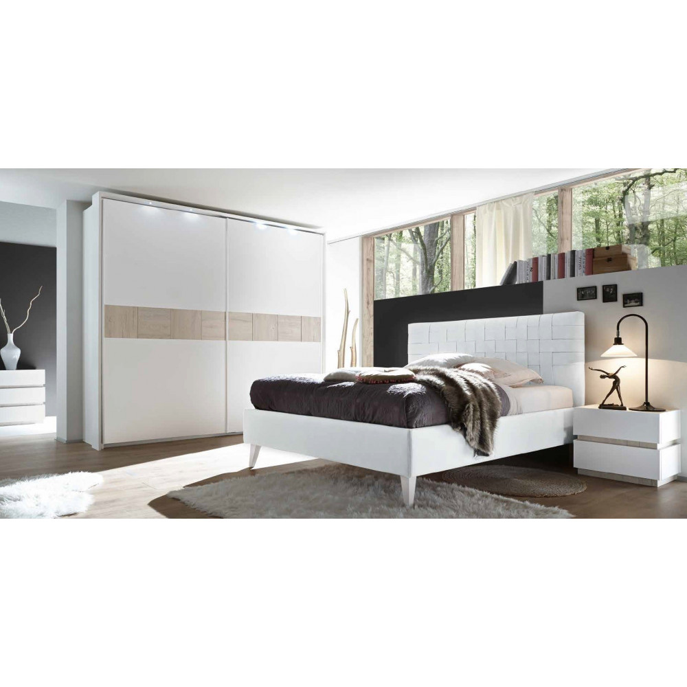 lit moderne pu tress blanc 160 et 180 x 200 prix exceptionnel. Black Bedroom Furniture Sets. Home Design Ideas