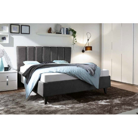 lit moderne pu p tales gris 160 et 180 x 200 prix exceptionnel. Black Bedroom Furniture Sets. Home Design Ideas