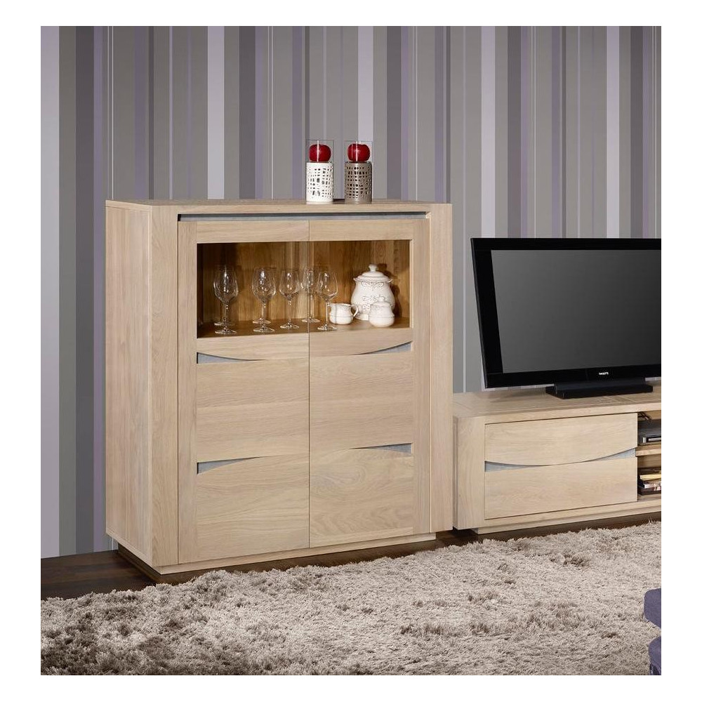 bahut haut stylia vitrine 2 portes ch ne massif. Black Bedroom Furniture Sets. Home Design Ideas