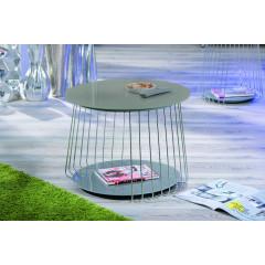 Table basse design de salon verre et acier chromé