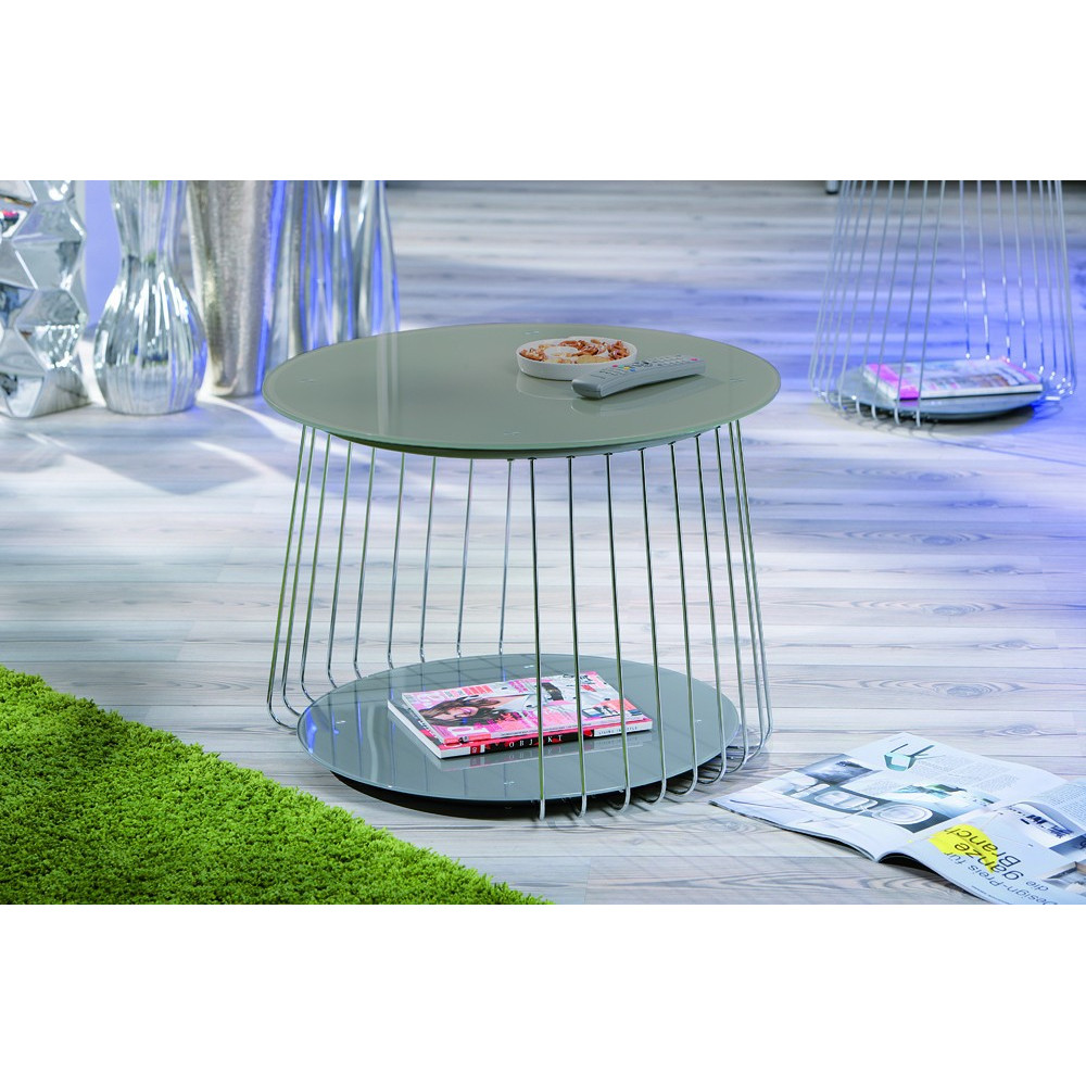 Table basse design de salon verre satin gris et acier chrom - Table basse salon verre ...