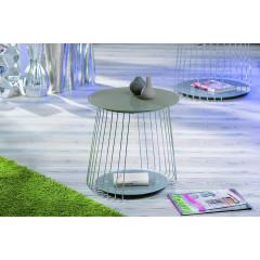 RIVA Table basse de salon verre et acier chromé
