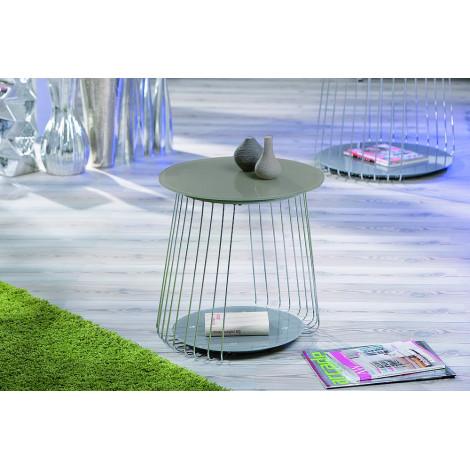 Table basse de salon verre et acier chromé