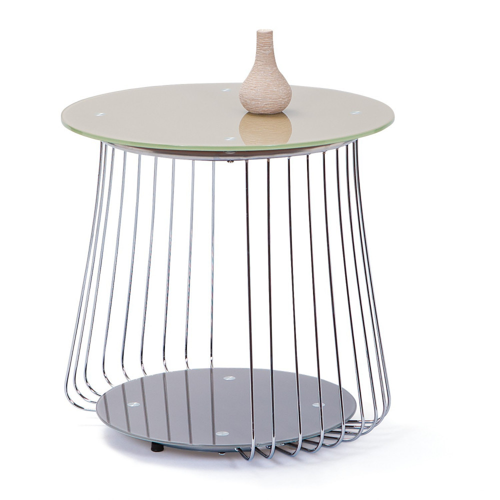 Table basse design de salon verre gris et acier chrom - Table de salon verre ...