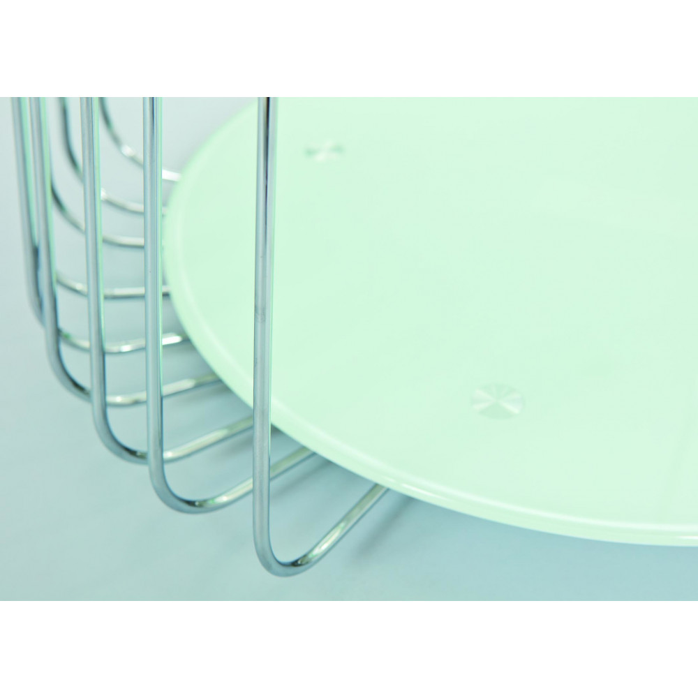 table basse design de salon verre blanc et chrome. Black Bedroom Furniture Sets. Home Design Ideas