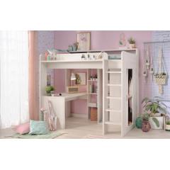 Lit haut avec bureau et armoire