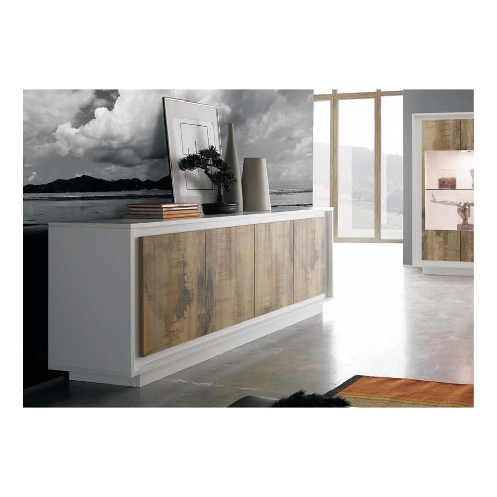 Bahut moderne blanc et teinte bois 160 cm a prix discount - Bahut bas blanc laque ...