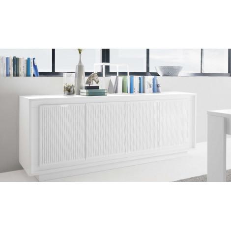 Bahut laqué blanc et SERIGRAPHIE RAYURES 4 portes