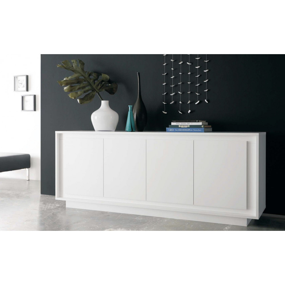 bahut moderne blanc 207 cm a prix discount. Black Bedroom Furniture Sets. Home Design Ideas