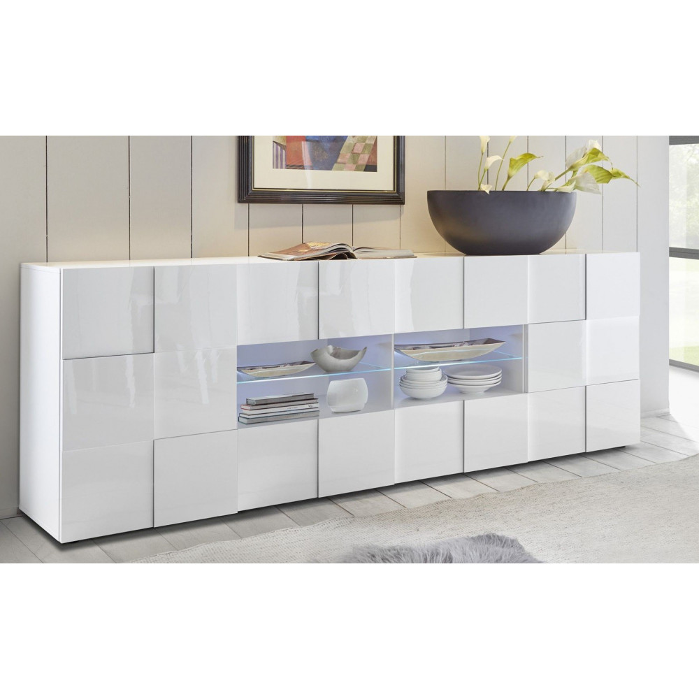 bahut moderne blanc brillant dimensions lhp 241x84x42 a prix discount. Black Bedroom Furniture Sets. Home Design Ideas