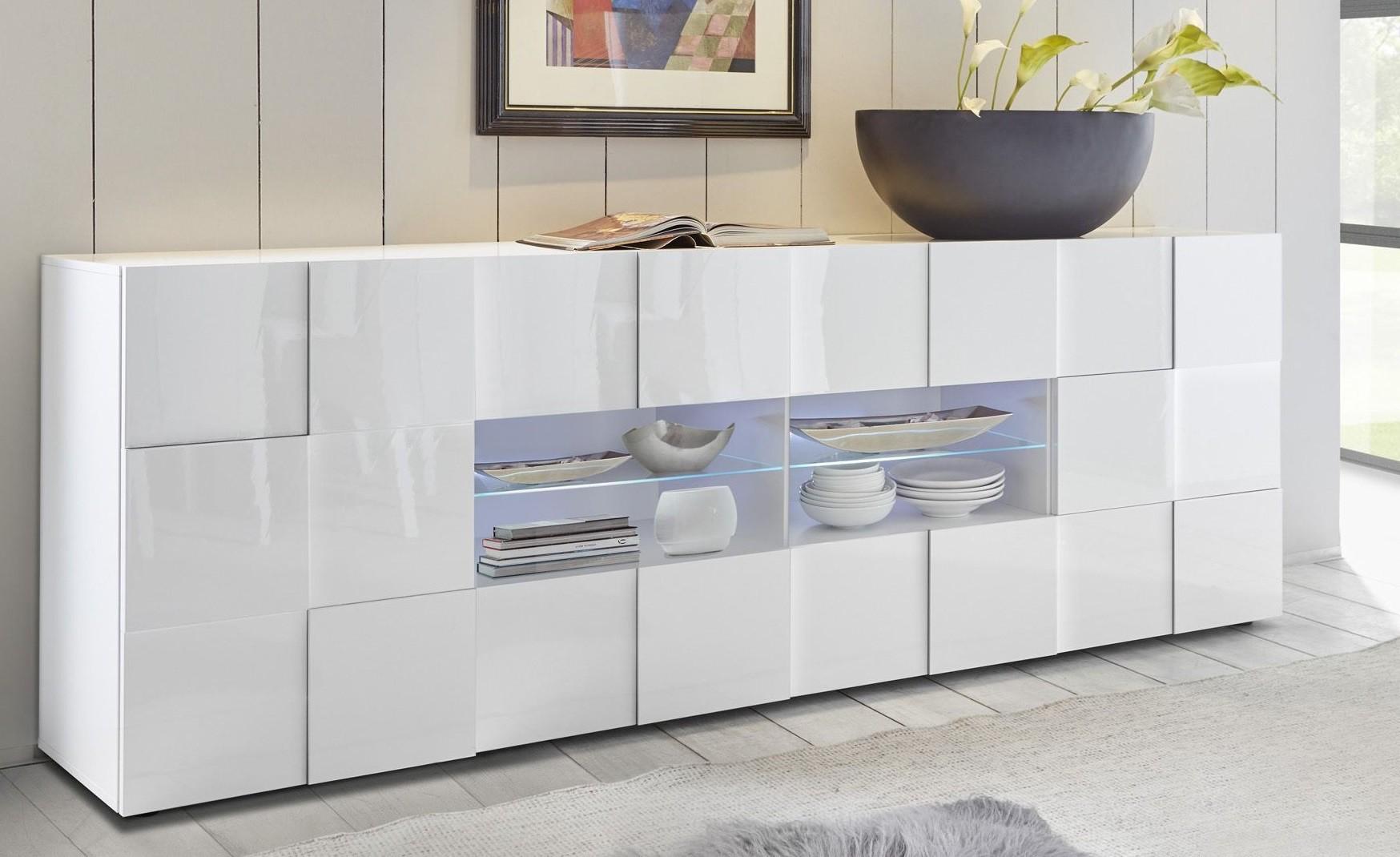 Bahut Moderne Blanc Brillant Dimensions Lhp 241x84x42 A Prix Discount # Meuble Bas Vitre Laque Blanc