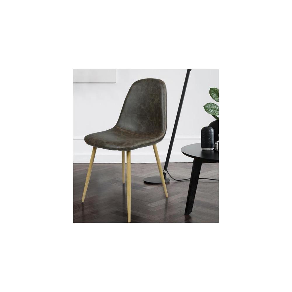 lot de 4 chaises scandinave coloris chocolat finition cuir vieilli. Black Bedroom Furniture Sets. Home Design Ideas