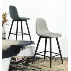 Tabouret de bar Charleston gris ( lot de 2)