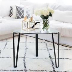 Table d'appoint verre et métal noir STOKY