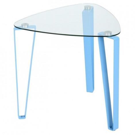 Table d'appoint verre et métal bleue STOKY