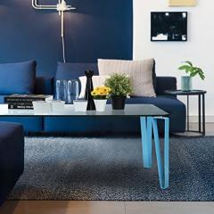 Table basse  verre et métal bleu RHODES