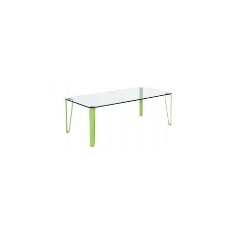 Table basse  verre et métal vert lime RHODES
