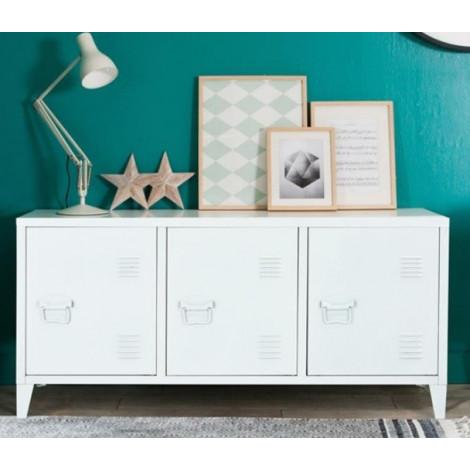 buffet industriel metal blanc 3 portes 1 tag re. Black Bedroom Furniture Sets. Home Design Ideas