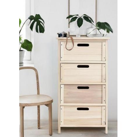 Meuble de rangement en bois 4 tiroirs for Meuble bureau 4 tiroirs