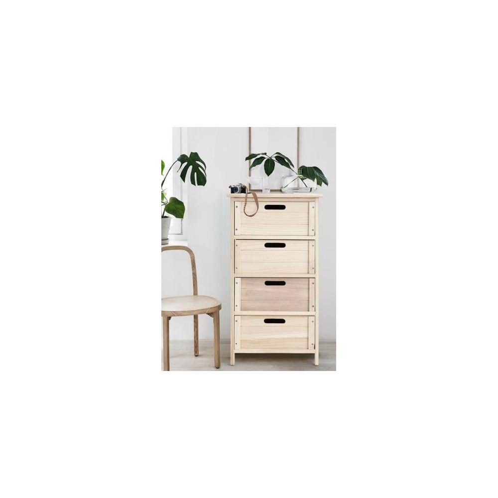 Meuble de rangement en bois 4 tiroirs for Meubles 4 tiroirs