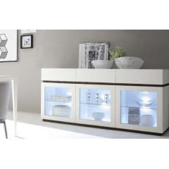 Bahut vaisselier design XAR 3 portes 3 tiroirs blanc