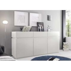 Bahut Bas design XAR 3 portes 3 tiroirs blanc