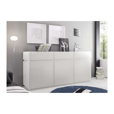 Buffet enfilade design XAR 3 portes 3 tiroirs blanc