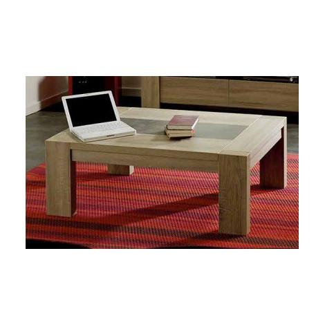 Matheo Table Basse Chêne Brut Effet Pierre Dimensions L110 H40 P74