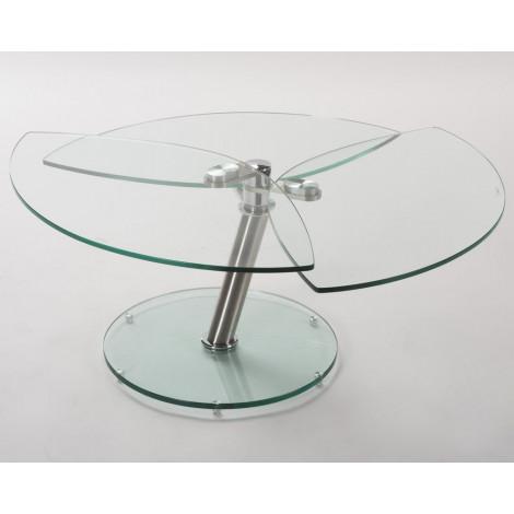 Table  Basse  Verre clair et acier chromé poli STYLE