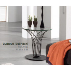 DIABO Table d'appoint ronde verre et métal noir