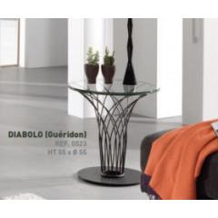 Table d'appoint ronde verre et métal noir DIABOLO