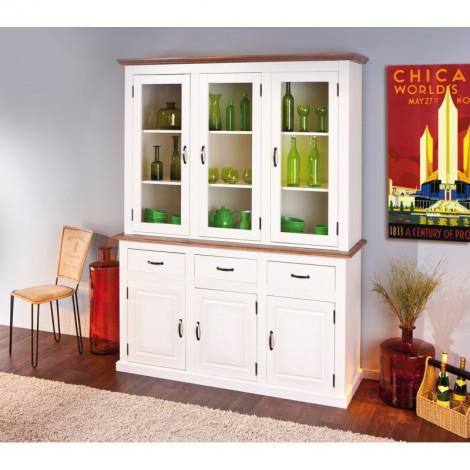 Buffet vaisselier Vassala 6 portes et 3 tiroirs blanc