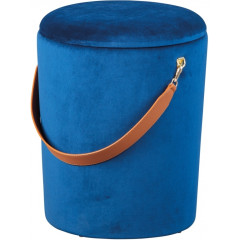 JIMMY pouf velours avec sangle cuir bleu