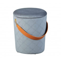 JIMMY pouf velours avec sangle cuir gris