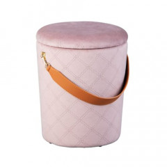 JIMMY pouf velours avec sangle cuir rose