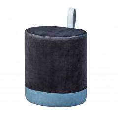OCEANE pouf velours noir et bleu