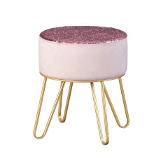 BELINDA  pouf velours rose