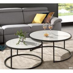 VOLGA table basse ronde marbre blanc et métal noir