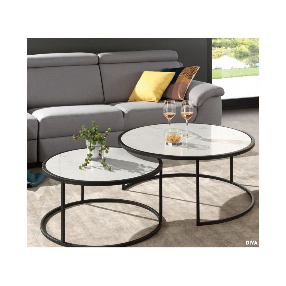 Table Basse Double Plateau Rond Marbre Blanc Pied Metal Noir Carre H35 H40 D90 D70