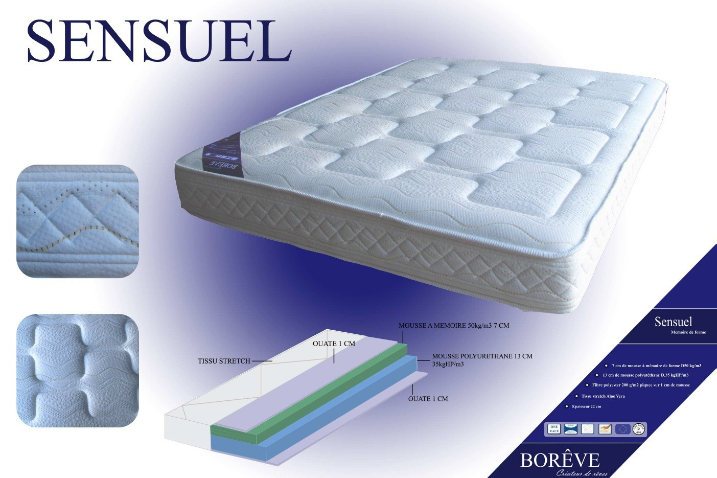 matelas paisseur 35 cm trendy matelas borneo x mmoire de forme cm paisseur cm de mousse with. Black Bedroom Furniture Sets. Home Design Ideas
